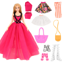 New Top Sellers 2019 Handmade 8 Items/set Doll Accessories=3 Dress + 2 Bags +3 Shoes For Barbie Doll Best Gift For Girl Birthday