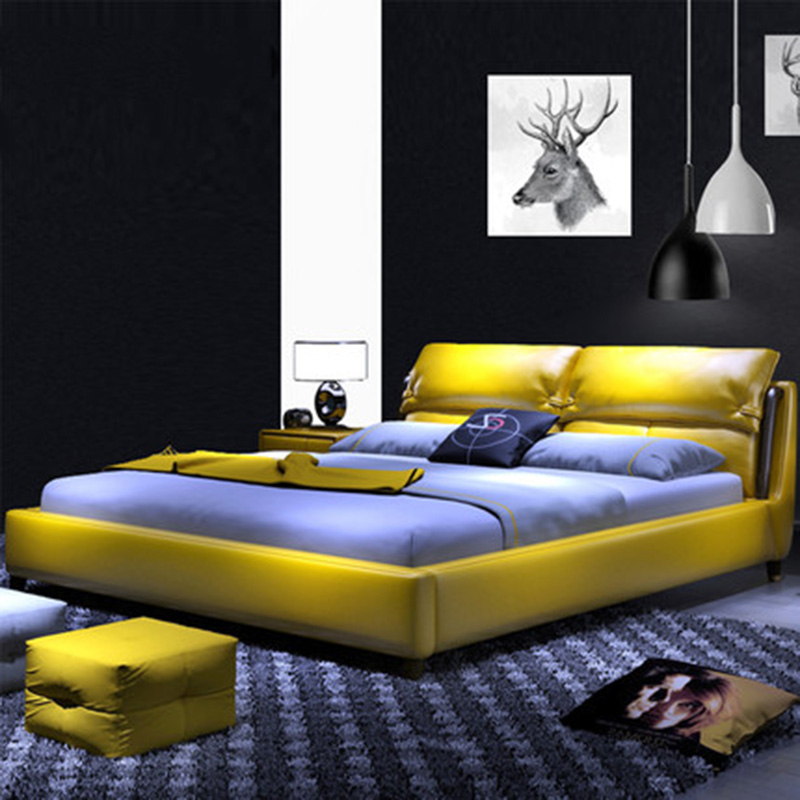 Nordic leather bed double bed Furniture simple odern nordic leather double wedding leather bed furniture