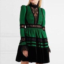 2077122d45229 Ruique Kadın Moda Yüksek Kalite Uzun Kollu Dantel Yeşil Elbise Kız  Patchwork Sonbahar Bel Hollow Seksi Elbise Yeni Bayanlar Kıya.
