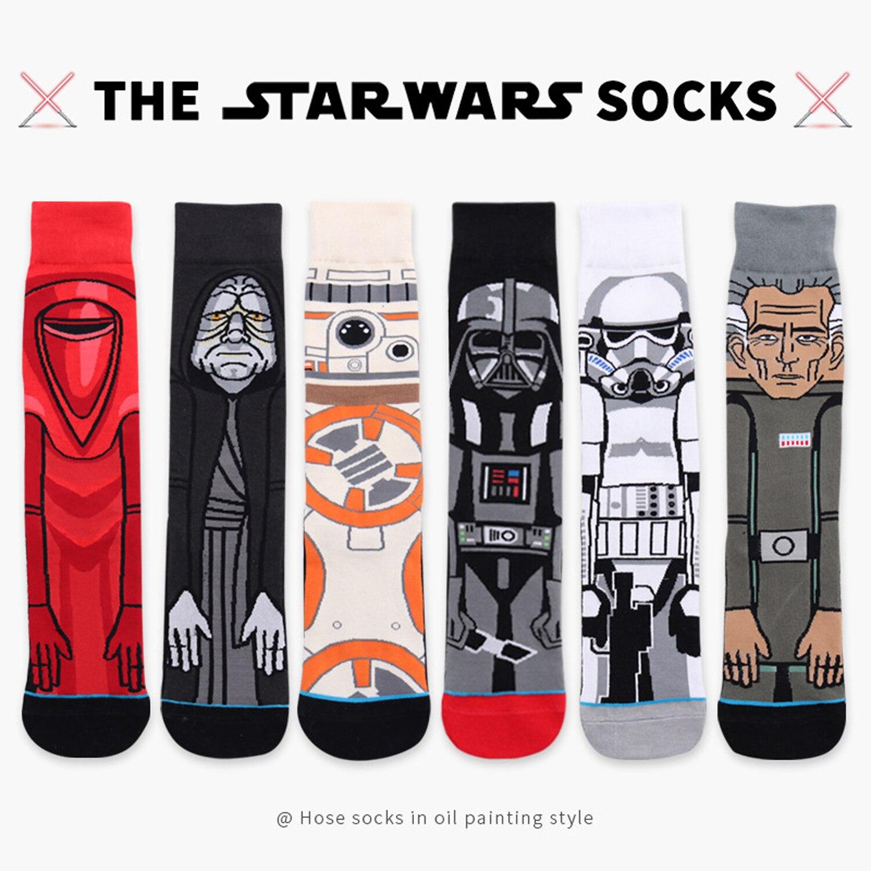 6 Pairs Star Wars Socks American Cartoon Men Socks Black Warrior Personality Warm Crew Socks Funny Planet Battle Vader Socks