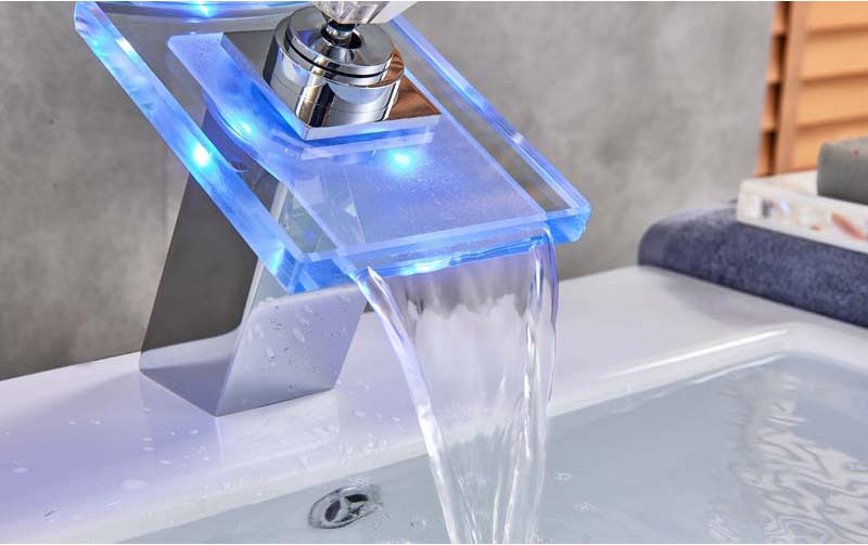 Bathroom Water Powered  LED Color Change Glass Waterfall Faucet Basin Mixer Taps