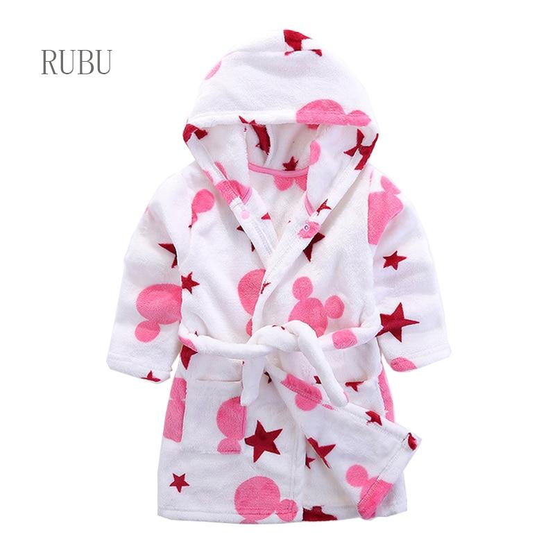 Children Flannel Bathrobes Nightwear 2019 Fashion Children Pajamas Hooded Bathrobe Soft Bath Robe Cute Girls Robe Cartoon Gown