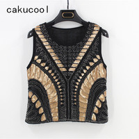 Cakucool New Women Beading Luxury Tanks Bling Sequins Camisole Sexy Club Tank Tops Gold Embellish Feminino