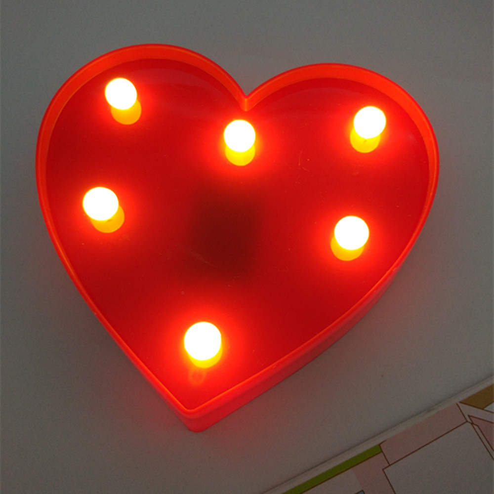 yiyang red romantic heart night lights 3d marquee letter led night lamp wedding party bedroom. Black Bedroom Furniture Sets. Home Design Ideas