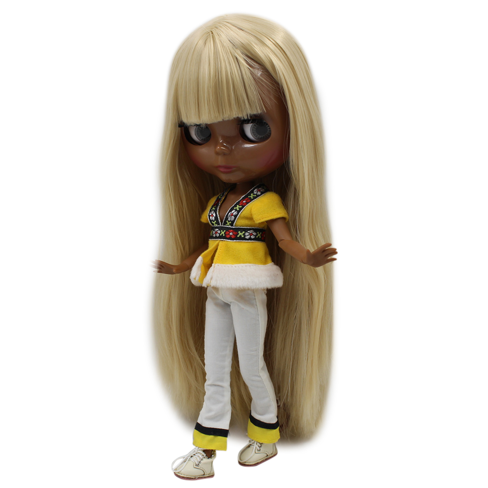 ICY Nude Blyth doll No 280BL538 Blonde hair with bangs JOINT body Super Black skin BJD