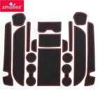 for Nissan Elgrand E52 2011 - 2018 Anti-Slip Rubber Cup Cushion Door Groove Mat 17Pcs 2012 2013 2014 2015 2016 Car Accessories