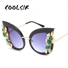 COOLSIR Sunglasses Women Cat Eye Shades Oversized Eyewear Crystal Frame Sun Glasses For UV400 Protection Sunglass