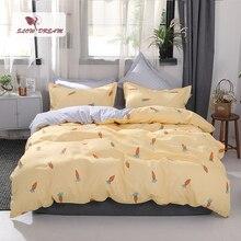 SlowDream Yellow Bedspread Duvet Cover Set Carrot Flat Sheet Nordic Bedding Decor Bedroom Double Queen King Size Bedclothes