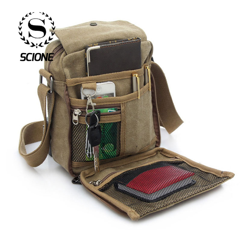 Breathable High Quality Canvas Men Shoulder Bag Multi-function Korean Travel Party Casual Bolsa De Lona Para Hombres Sac Depaule