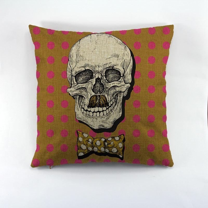 Crâne Design Liene housse de coussin Kitty avec chapeau motif taie d'oreiller pour canapé Comfortabele jeter housse de coussin