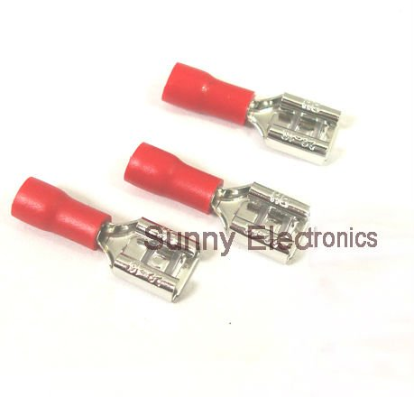 1000 pcs 6 3mm red female insulated electrical spade connector 1000 pcs 6 3mm red female insulated electrical spade connector terminals wiring crimp 22