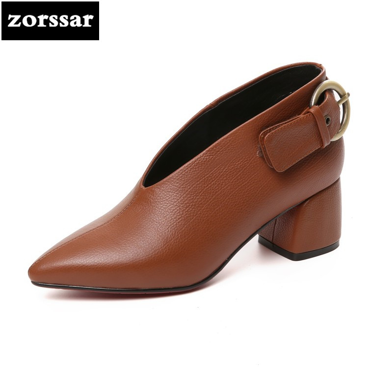 {Zorssar} Brand shoes 2018 fashion buckle womens shoes heels Pointed toe Slip-on Shallow Grandma High heels ladies dress shoes new 2017 spring summer women shoes pointed toe high quality brand fashion womens flats ladies plus size 41 sweet flock t179