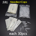 5R *30pcs Permanent Makeup Accessories Needles and Suitable Tips Caps
