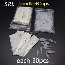 5R *30pcs Permanent Makeup Accessories Needles and Suitable Tips Caps