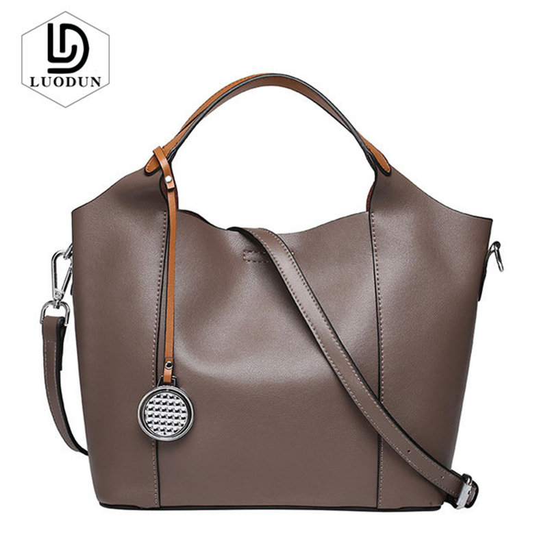 LUODUN Hot sale handbag women casual tote bag female large shoulder messenger bags high quality Split leather Crossbody Bag цена