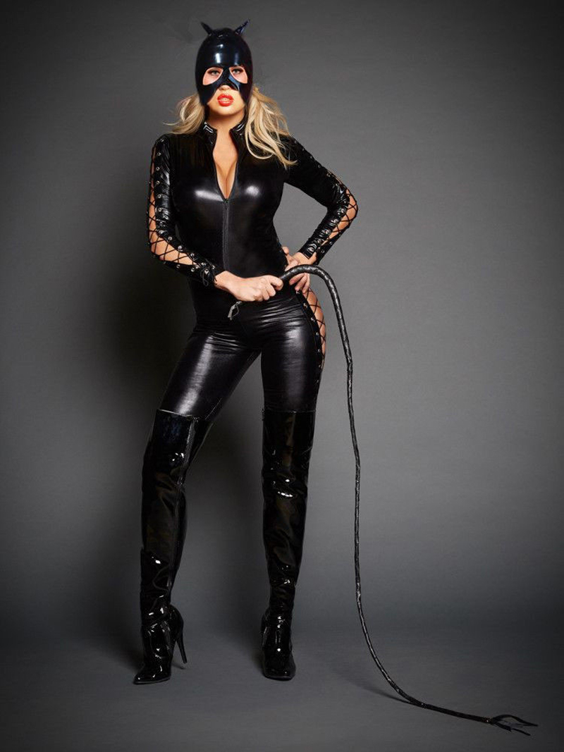 Newest Sexy Catwoman Cosplay Catsuit Women Lace Up Zipper Jumpsuit Cat Mistress Role Play Halloween Costume With Mask