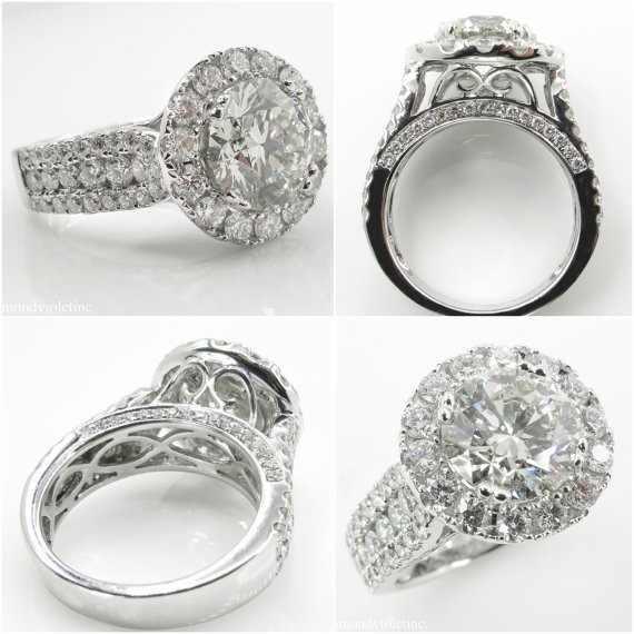 หญิงหรูหรา BIG Zircon แหวนเงินสี Filled แหวนแต่งงานวง PROMISE หมั้นแหวน
