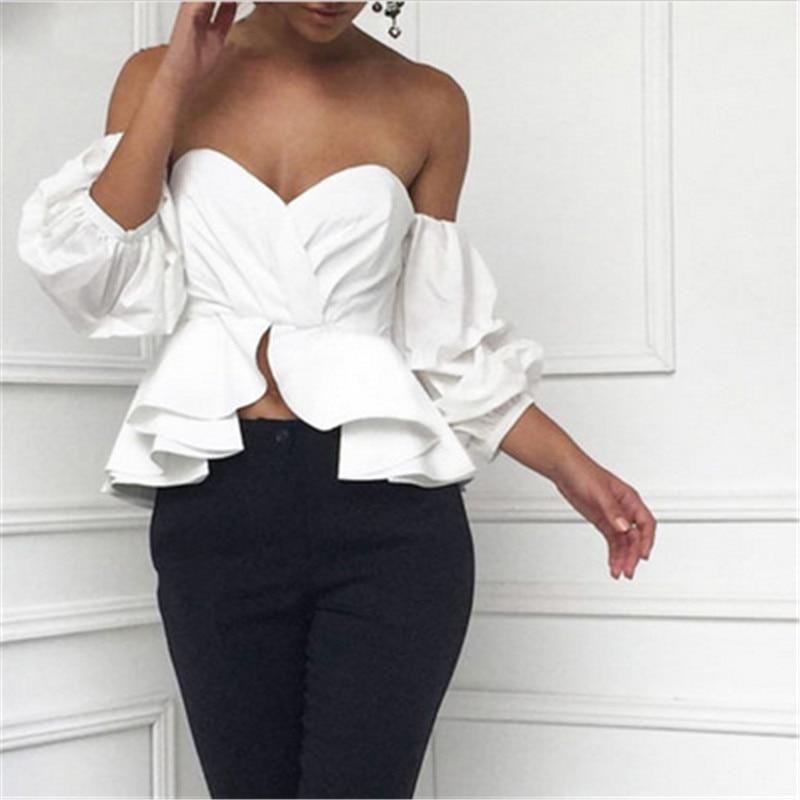 Coréen Hors Bustier D Tops Dos Manches Nu Volants Épaule Sans Bouffant Sexy Vêtements Style Été Peplum Blouse Chemises Femmes c3F5uK1JTl