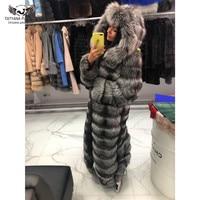 Tatyana Furclub New Real Fox Fur Coat For Women Winter Fur Jackets X Long Natural Silver Fox Fur Outerwear Thick Warm Full Pelt