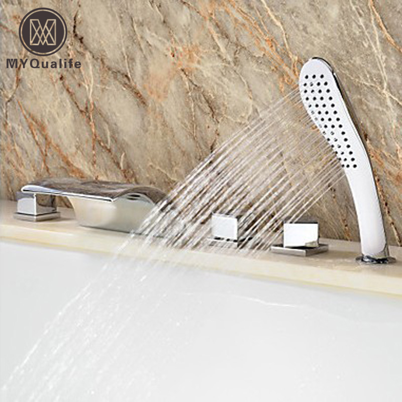 Wholesale And Retail Chrome Finish Waterfall Bathtub Mixer Faucet Tap Three Handles W/ Hand Held Shower wholesale and retail deck mounted square waterfall bathtub faucet single handle chrome finish bath spray w hand shower