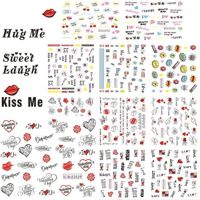 11 Designs In 1 Set Letter Nail Art Sticker Sweet Heart Love Valentine Watermark Decals