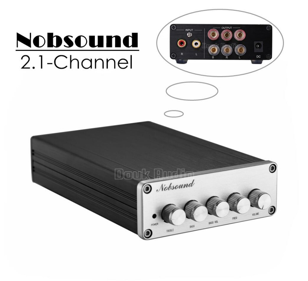 2017 New Nobsound Mini 2.1 Channel Digital Power Amplifier Hi-Fi Stereo Amp 2*50W+100W Subwoofer 2017 new nobsound hifi 100w mini tpa3116 bluetooth 4 0 digital amplifier amp power supply free shipping