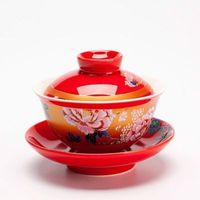 Chinese traditional antique red wedding ceramic tea bowl cup tray Kungfu tea set tureen gaiwan porcelain marry newlywed gift