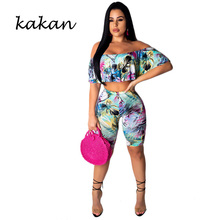 Kakan summer new womens print one-piece tights two-piece digital gradient casual backless jumpsuit