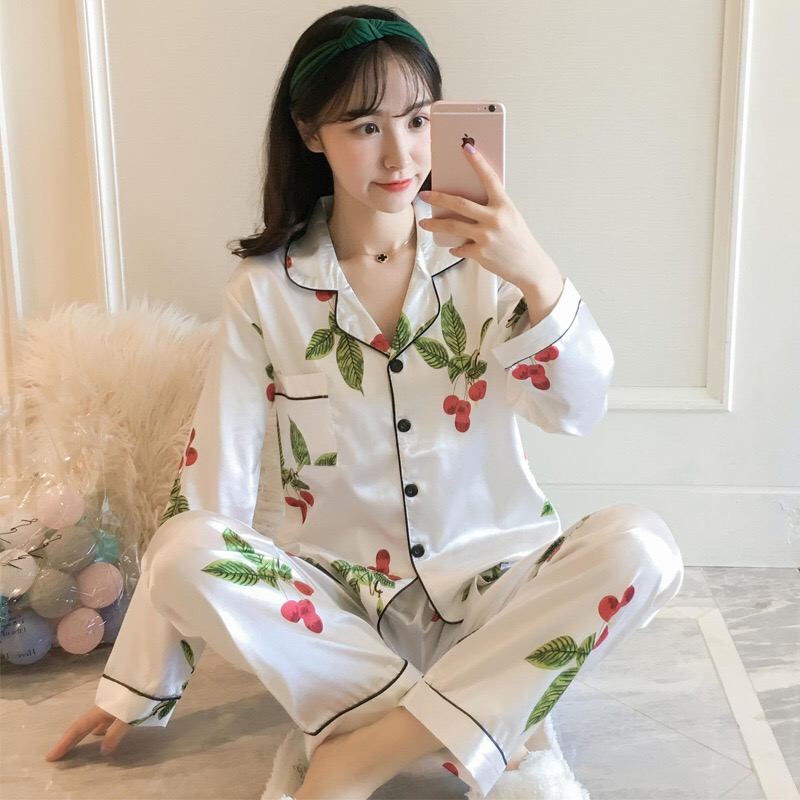 Women   Pajamas   silk Satin Sleepwear Turndown Collar   Pajama     Set   Long Sleeve Woman Suits autumn Home Wear Sleepwear Big size XXXXL