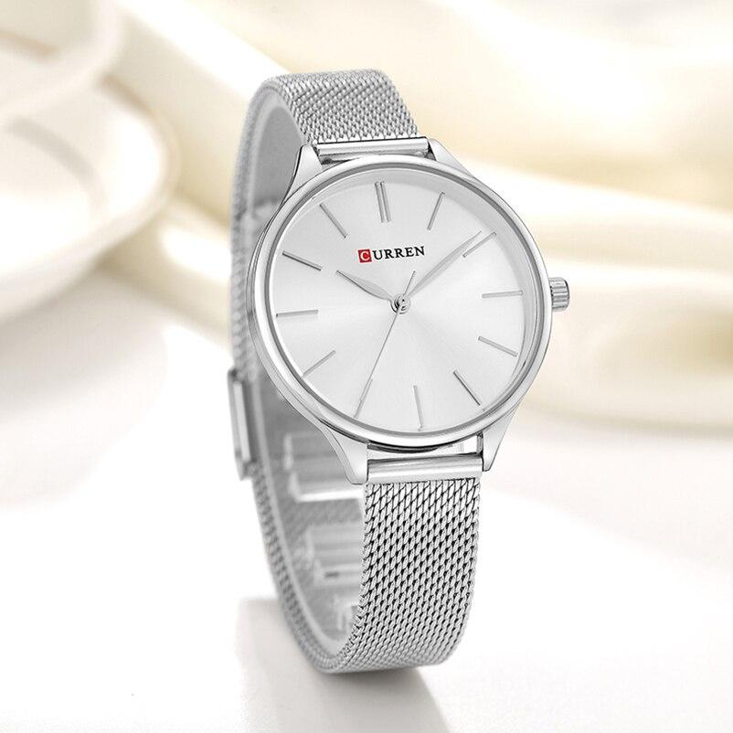 Curren Watches Women Top Brand Luxury Silver Quartz Watch Stainless Steel Bracelet Watches Ladies Clock 2018 Relojes Mujer