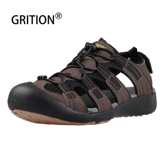 e332ccf27da GRITION Men Shoes Outdoor Summer Men Sandals Hiking Shoes Sport Trek  Walking Sandals Leather Male Flat Beach Sandal Rubber Sole