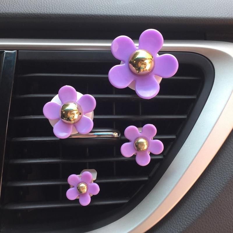 4pcs/lot Flower Car Diffuser Freshener Air Vent Clip Perfume Auto Interior Decor