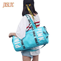 New Fashion Girl Stripe Pink Duffle Bag Colorful Vs Zipper Shoulder Versatile Sack Summer Holiday Beach