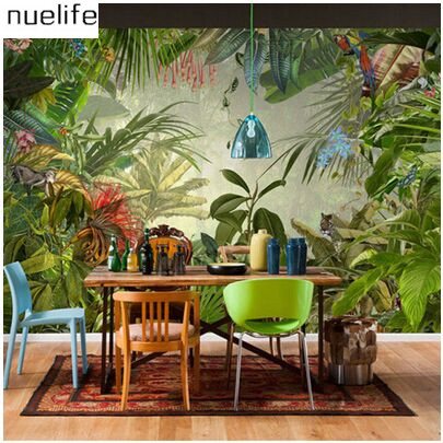 Tropical rain forest pastoral plant forest pattern wallpaper living room sofa television background wallpaper decoration кеды celio celio ce007amqbq49