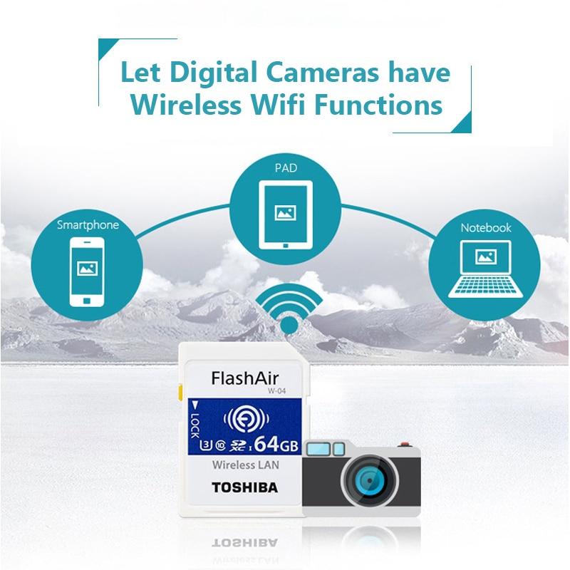 Image 5 - TOSHIBA FlashAir W 04 WiFi carte SD 64GB SDXC 32GB 16GB SDHC classe 10 U3 carte mémoire carte Flash pour appareil photo numérique-in Cartes Mémoire from Ordinateur et bureautique on AliExpress