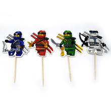 24PCS Kids Favors Birthday Party Cupcake Toppers with Sticks Ninjago Theme Cake Topper Decoration Happy Baby Shower Supplies