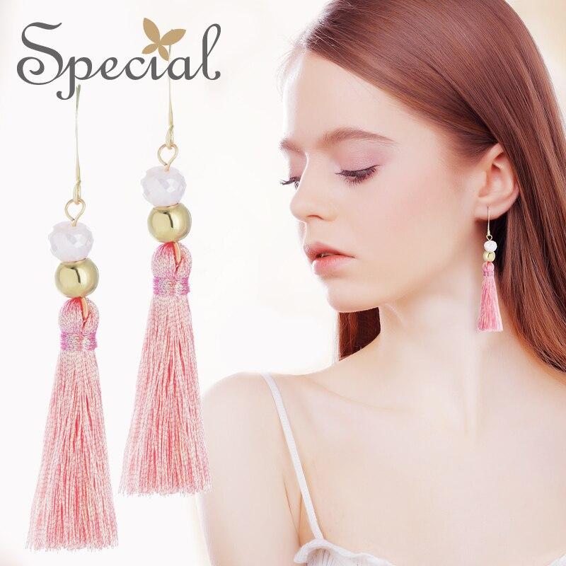 Fashion Tassel Perle Cristal Femmes Long Ear Stud Drop Dangle Boucles d/'oreilles Bijoux