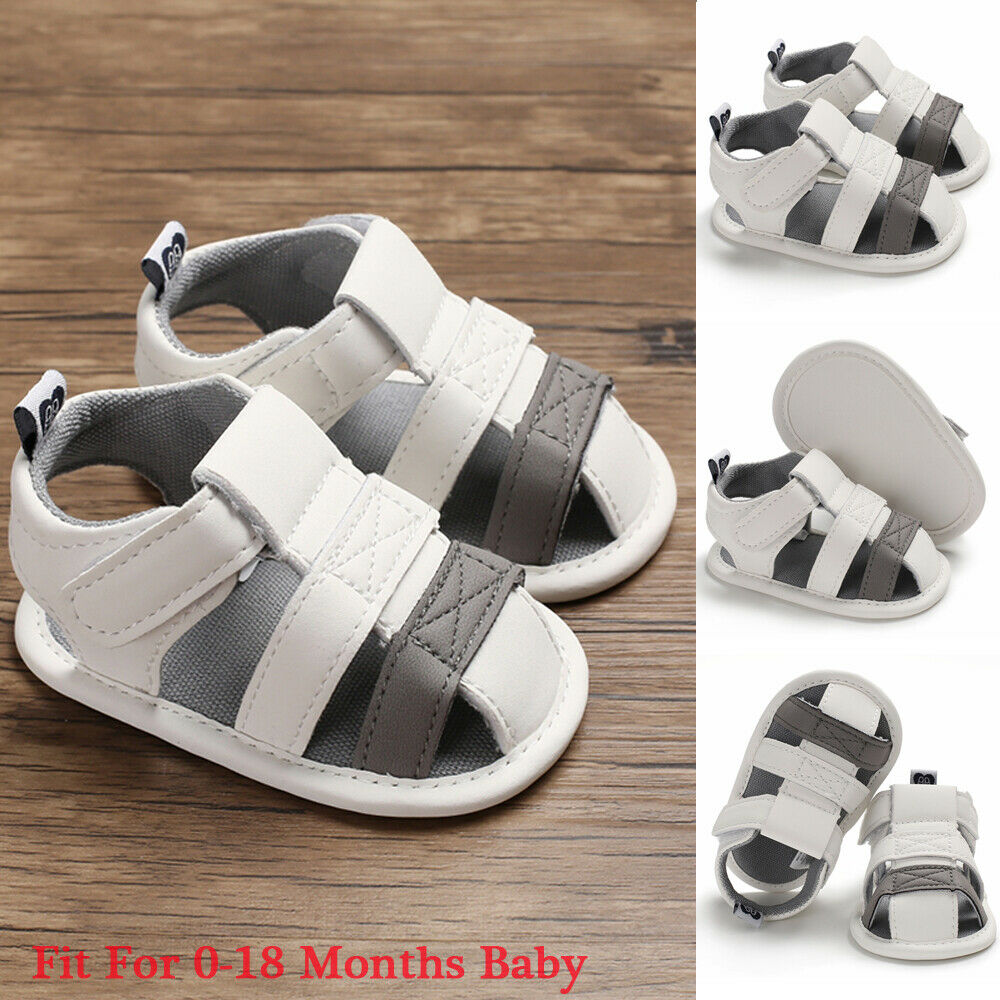 2019 New Newborn Baby Boy Soft Sole White Crib Shoes Toddler Summer Sandals Size 0-18 Months