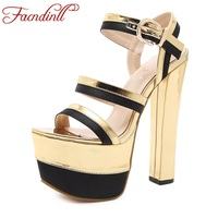 FACNDINLL Shoes Women Gladiator Sandals New Fashion Summer Sexy Thick High Heels Platform Shoes Woman Dress