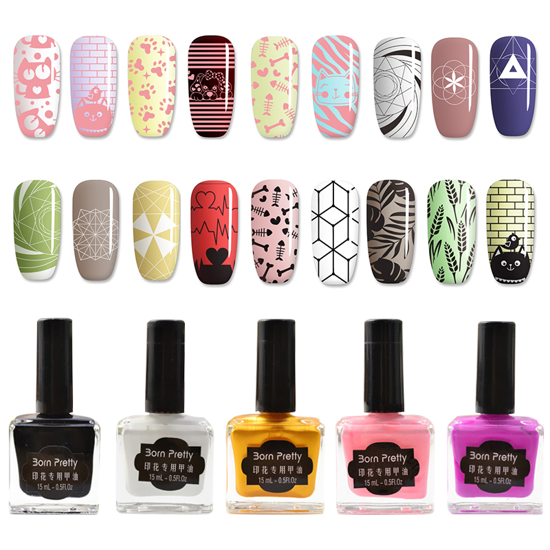 BORN PRETTY 15ml Candy Colors Nail Art Stämpling Polska Sweet Style Print Lack för Stamping Polish