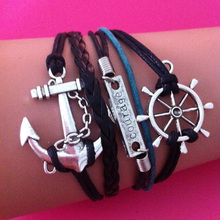 Wholesale Silver Alloy Anchor Rudder Courage Bracelet for Women Men Black & Blue Weaved Leather Rope Wrap Chain Bracelets