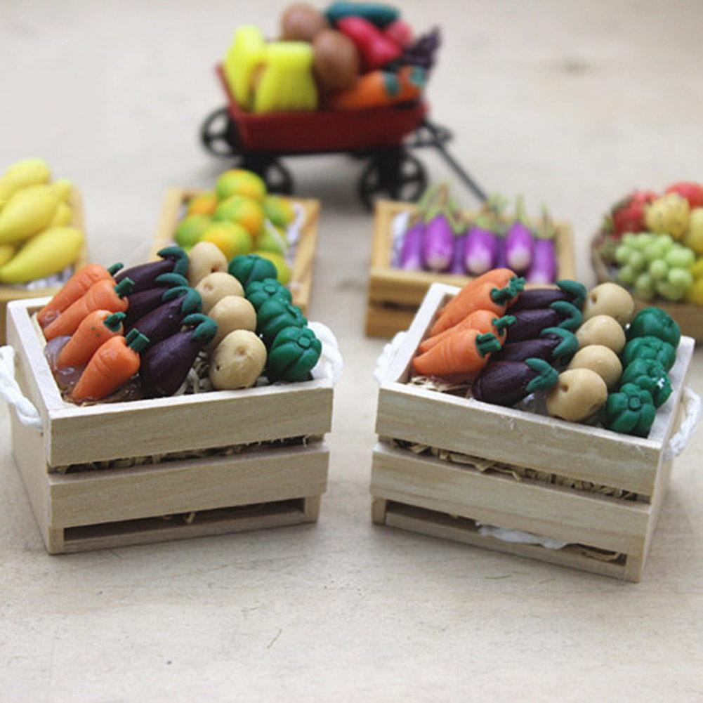 Dollhouse Miniature Vegetables With Frame Simulation Model Pretend Play Toys Fake Vegetables Restaurant DIY Toys For Children