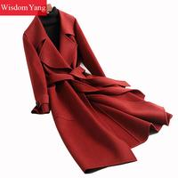 Winter Coat Caramel Turndown Xlong Sheep Wool Cashmere Coats Women Office Bodycon Elegant Woolen Overcoat Abrigos Mujer Invierno