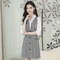 2018 Women Fashion Dress OL Striped Patch Shoulder Slim Dresses Female Lady's Spring Clothes S M L XL XXL