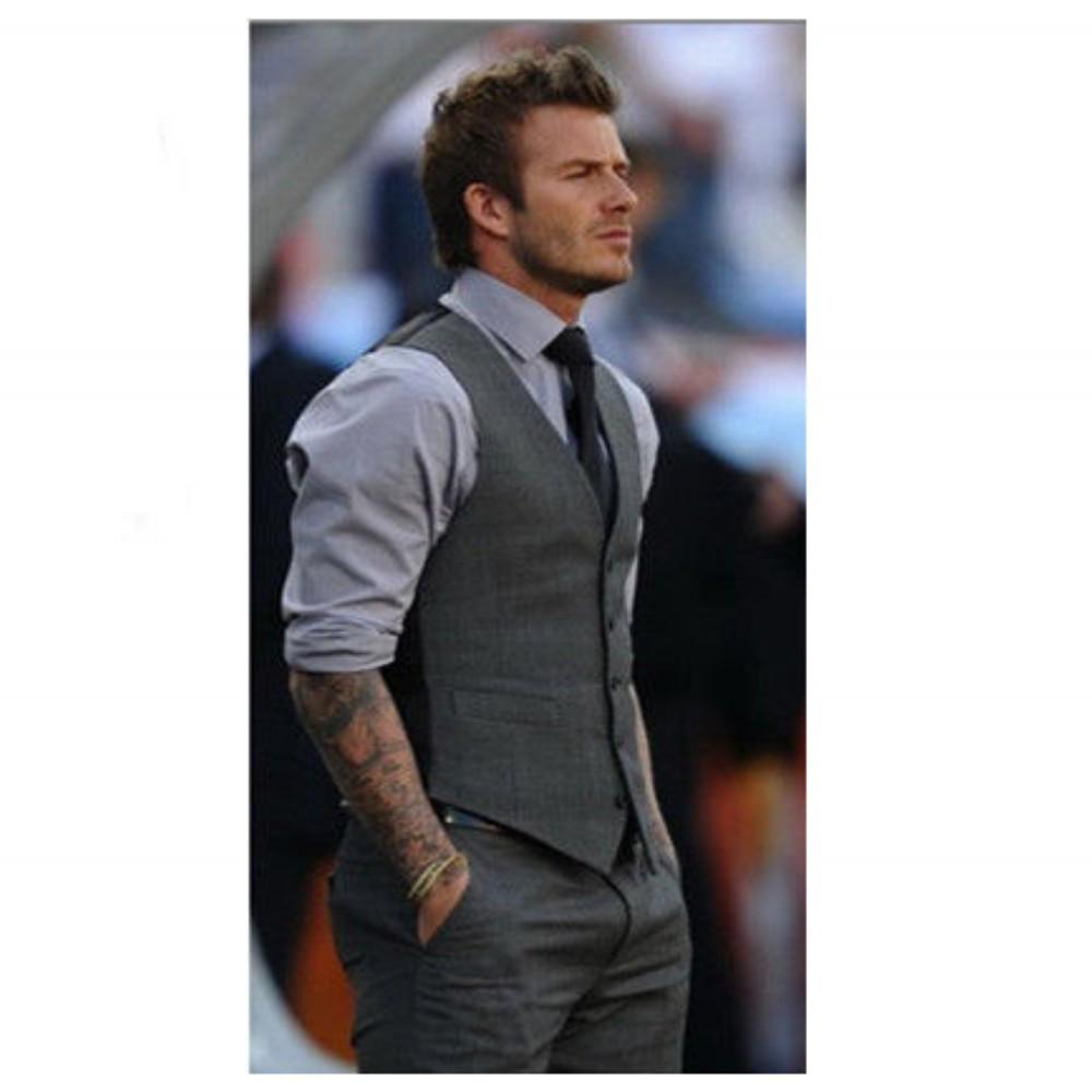 Handsome Fashion Unique Design Male Suits Gray Vest Perfect High ...