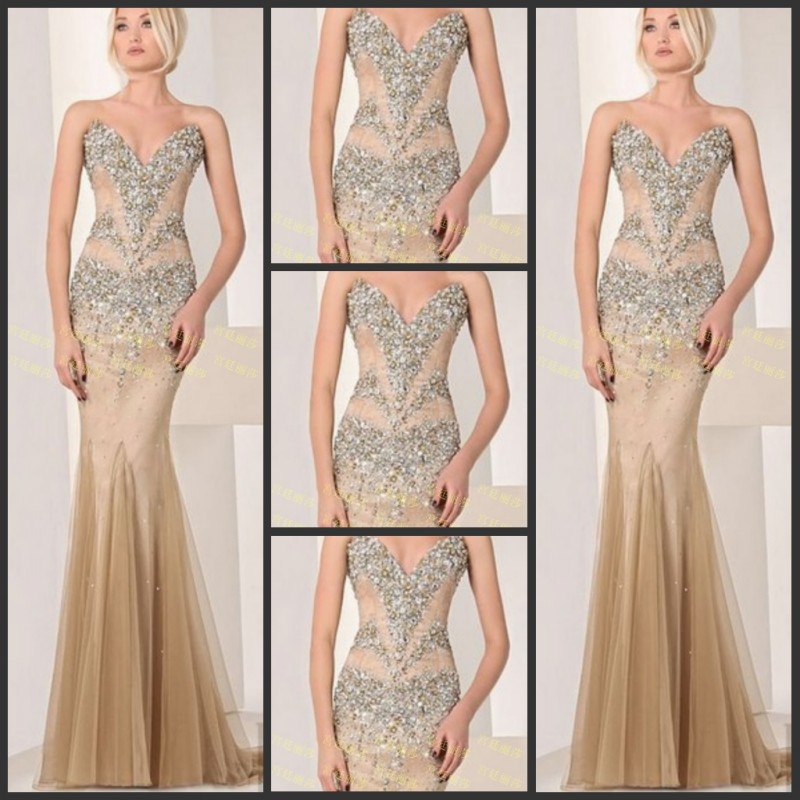 free shipping 2016 new fashion vestidos luxury crystal beaded formal brides champagne long evening gowns party   prom     dresses