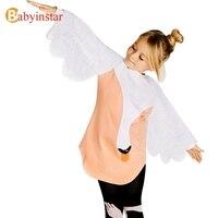 Babyinstar Principessa Ragazze Swan Stampato ress Divertente Cigno Mini Vestito Da Modo Del Manicotto della ragazza Spring Dress Abiti 2018