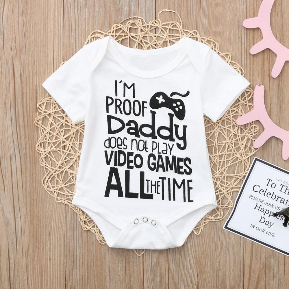 Newborn Infant Baby Boy Letter Clothes Outfits Jumpsuit Romper Kids Tops T-shirt