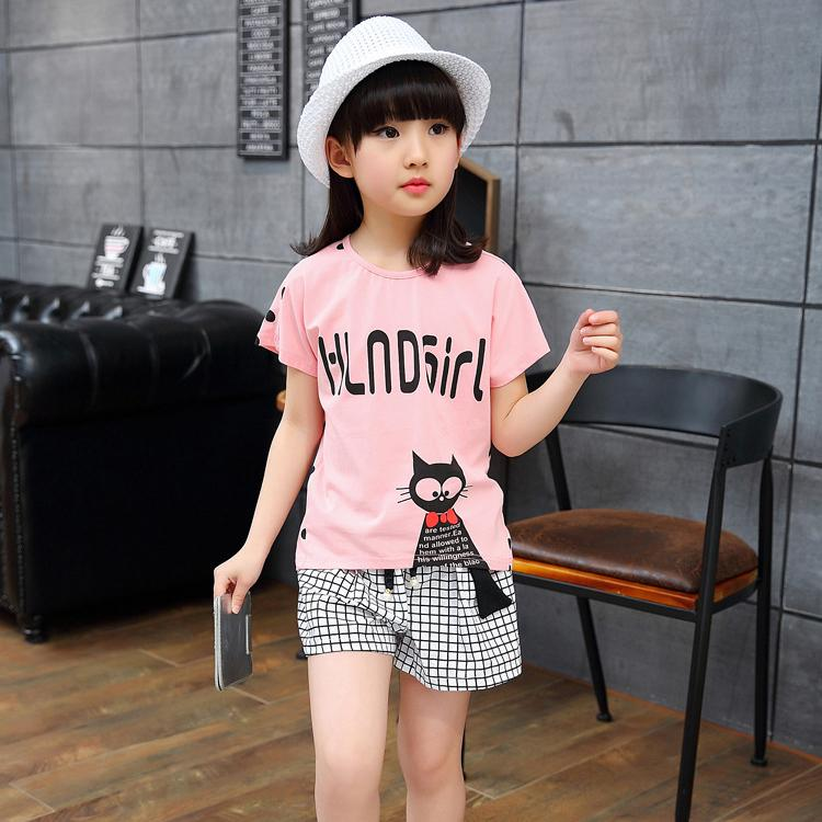 3 4 5 6 7 8 9 10 10 11 12 13 14 Years Children Clothing Set 2017 Summer Casual Cotton Girls Clothes T-shirt Shorts Kids Suits