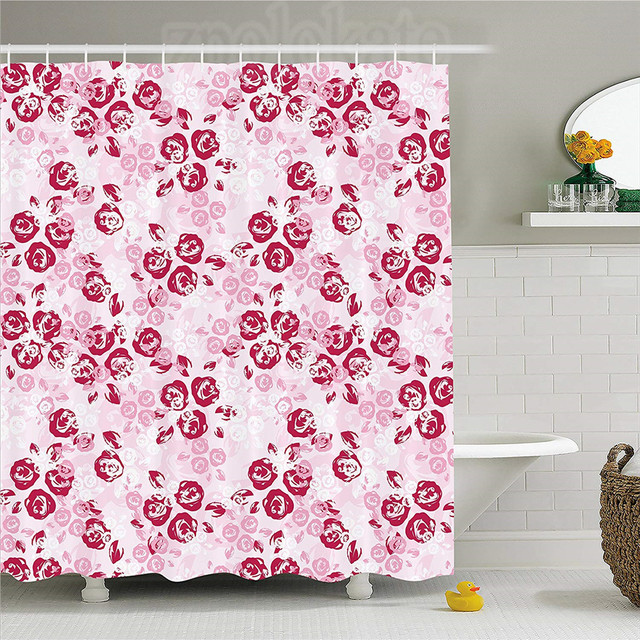 Maroon Shower Curtain Artful Spring Garden Pattern With English Rose Blooms Romantic Abstract Fabric Bathroom Decor